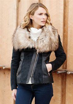39bbbbf93cd4 Faux Fox Fur Collar Faux Suede Black Jacket