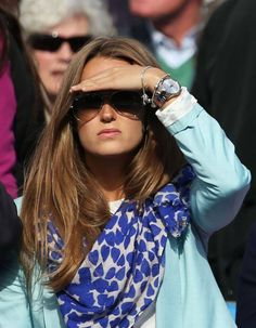 Kim Sears watching boyfriend Andy Murray in Beulah's Blue heart Shibani Scarf http://www.beulahlondon.com/accessories/scarves/shibani-shawl-487.html