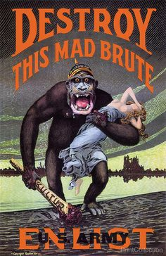 WWI propaganda poster for enlistment in the US Army. Created around 1917 by HR Hopps.