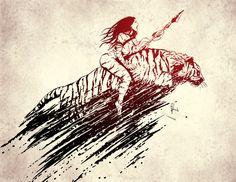 Amazon Warrior Woman Print. Amazon woman power poster-print. Tiger woman print. Feminist print. Ink artwork print. Amazon Warrior Wall Art Metal Artwork, Artwork Prints, Poster Prints, Woman Power, Witch Art, Fantasy Illustration, Dance Art, Powerful Women, Illustrations Posters