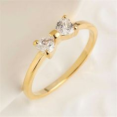 Korean Style Gold Plated Bow Ring Zircon Ring Fashion Jewelry For Women