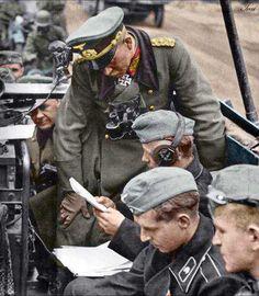 WWII. German gerneral Heinz Guderian with Nachrichtentruppe in the Operation Fall Gelb (1940)