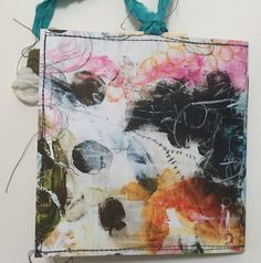 "Art Print* Mini Journals are approximately 5 1/4"" x 5 1/4"" in size.  The covers are made from card stock printed from my art collages and stitched around the ed"