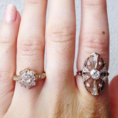 The Art Nouveau Diamond Ring on right!