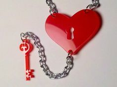 Key to My Heart Laser Cut Acrylic Charm Necklace by LicketyCut, $10.00