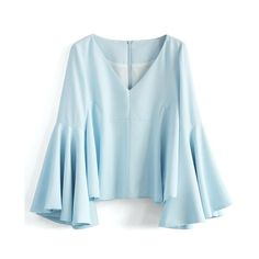 Chicwish Serene Blue Top with Bell Sleeves (3,410 INR) ❤ liked on Polyvore featuring tops, blue, boho style tops, boho chic tops, bell sleeve tops, blue top and boho tops