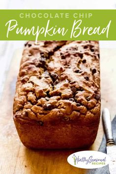 Healthy Pumpkin Bread with Chocolate Chips is an all-time fan favorite recipe. It is sweetened with all-natural unrefined maple syrup, and uses whole-wheat flour. It is incredibly moist and addictively good! You'll make it over and over! #pumpkinbread #fallbaking Healthy Pumpkin Bread, Pumpkin Chocolate Chip Bread, Chocolate Chips, Pumpkin Recipes, Beef Recipes, Cake Recipes, Dessert Recipes, Vegan Recipes, Desserts