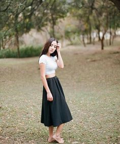 long black skirt & white crop top