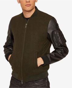 13097d99c1bc Armani Exchange Mens Wool Bomber Jacket with Faux Leather Sleeves