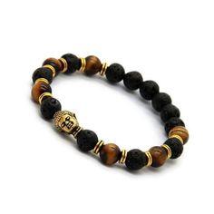 Buddha men bracelet with lava stone and tiger eye beads