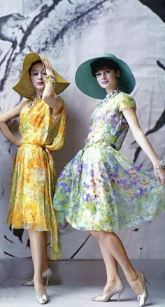 Dior Summer Silks, 1961 floral sheer day dress yellow purple green full skirt hat shoes vintage fashion print ad models magazine 60s