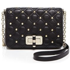 DIANE von FURSTENBERG 440 Gallery Bellini Quilted Studded Crossbody ($248) ❤ liked on Polyvore featuring bags, handbags, shoulder bags, black, black leather shoulder bag, black studded purse, crossbody purse, black shoulder bag and black crossbody