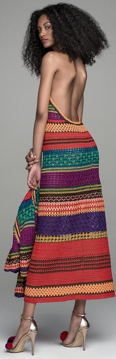 Spencer Vladimir Resort 2017 - multicolor stripe crochet dress