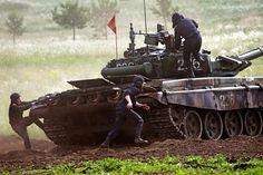 Russian Army T-72B3 tank during Tank biathlon and Suvorov onslaught training at Chebarkul, Chelyabinsk Region, on May 10, 2016