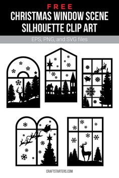 Free Christmas window scene silhouette clip art in EPS, PNG (transparent), and SVG formats. Cricut Christmas Ideas, Christmas Stencils, Free Christmas Printables, Christmas Paper, Christmas Projects, Christmas Window Display, Christmas Window Decorations, Christmas Scenes, Christmas Holidays