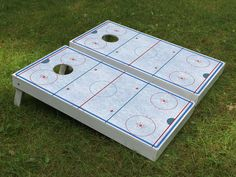 Our boards are quality constructed using cabinet grade plywood. Not the cheap stuff many other dealers use. feet by 4 feet) with the hole ce Hockey Gifts, Hockey Mom, Ice Hockey, Hockey Puns, Hockey Stuff, Hockey Birthday, Hockey Party, Backyard Ice Rink, Backyard Games