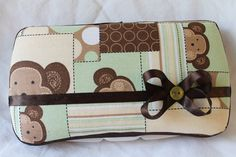 Custom Covered Baby Wipe Case Monkey great idea for a baby shower gift?;)