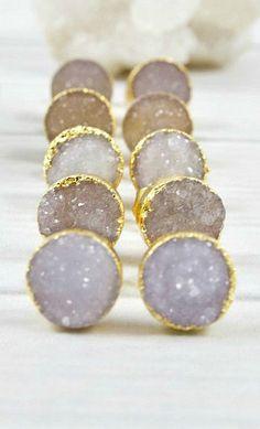 Druzy Earrings, Gold