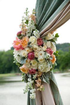 Peonies, roses, hydrangeas, and lamb's ear