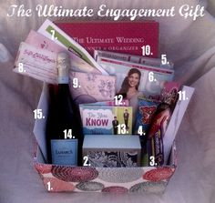 The Ultimate Engagement Gift! Please forgive the poor photography. I'm currently saving for a nice camera. Until then, I have the Most Wonderful news to share… My Sister Is ENGAGED! Words fail to express exactly how excited … Engagement Gift Baskets, Unique Engagement Gifts, Engagement Party Gifts, Engagement Presents, Wedding Engagement, Wedding Gifts, Engagement Ideas, Wedding Stuff, Engagement Rings