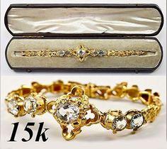 Antique 15K Gold Colored Stone Victorian Bracelet, Box | eBay