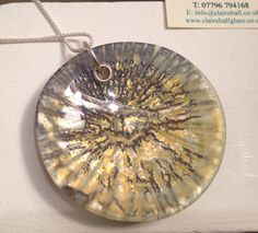 Fused glass powder reaction pendant by Claire Hall