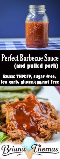 Barbecue Sauce (and Pulled Pork) Perfect Barbecue Sauce (and Pulled Pork) - THM:FP (if using c. per serving or less), low carb, sugar free, and gluten/egg/nut free (if using allergy-friendly ingredients)Perfect Barbecue Sauce (and Pulled Pork) - THM:FP Slow Cooking, Cooking Recipes, Cooking Lamb, Cooking Steak, Pork Recipes, Low Carb Recipes, Healthy Recipes, Jelly Recipes, Recipies