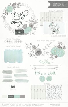 Business Identity Brand Set: Pre Made Vintage Feminine Watercolor Painted Photography Logo