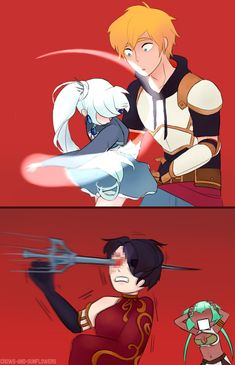 FIRST RWBY ON MY FEED YAYAYAYAYAYAY! But omigah she stabbed her frigging head.