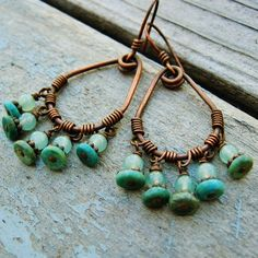 Turquoise and Aventurine Antiqued Copper Wire by BearRunOriginals. Might mimic the effect with polymer.