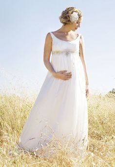 Chiffon Strapless Scoop #Empire A-line Long #Maternity #Wedding #Dress
