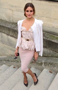 Feminine : blush pink pencil skirt, ruffled top with structured white blazer. A professional stylish look