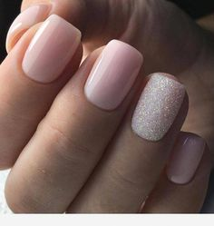 pink nails with glitter accent . pink nails with rhinestones . pink nails with glitter Cute Acrylic Nails, Cute Nails, Pink Shellac Nails, Gold Nails, Gel Manicure, Silver And Pink Nails, Pink Wedding Nails, Baby Pink Nails With Glitter, Blush Pink Nails