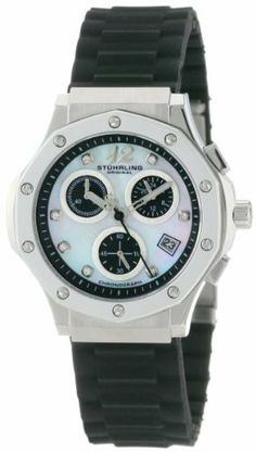 Stuhrling Original Women's 180R.11167 Special Reserve Apocalypse Cosmo Girl Swarovski Crystal Mother-Of-Pearl Chronograph Date Watch Stuhrling Original. $140.00. Stainless steel case with decagonal shaped glossed bezel and protective Krysterna crystal. Water-resistant to 330 feet (100 M). Mother-Of-Pearl dial with chronograph function black sub-dials and date complication. Black silicon rubber strap with stainless steel deployant clasp. Black outer chapter ring with...