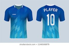 realistic mock up of front and back of blue soccer jersey t-shirt kit. Concept for football team uniform or apparel mockup in vector illustration. Soccer Kits, Football Kits, Football Jerseys, Custom T Shirt Printing, Custom Shirts, Sports Jersey Design, Corporate Identity Design, Team Uniforms, En Stock