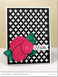 handmade greeting card ... black and white with hot pink and emerald green ... swirly die cut rose trio with glimmer spray ... luv the die cut grid background ...