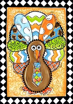 Custom Decor Flag - Patterned Turkey Decorative Flag at Garden House Flags