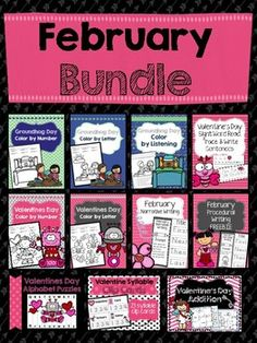 Perfect for PreK or Kindergarten!! Bundle up and save big on this compilation of all of my February products! This packet includes several valentine's day and groundhog day themed activities that cover a wide range of skills including procedural writing, narrative writing, counting syllables, sight word trace and write sentences, no prep addition worksheets, color by number, color by letter, color by listening, and alphabetical order puzzles.