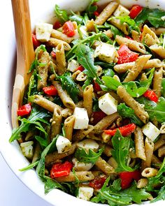 Save this healthy recipe to make Whole Wheat Pesto Pasta Salad for lunch or dinner.