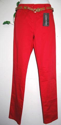 Rinascimento Women Red Italian Belt Cotton Pants Size L NEW #Rinascimento #CasualPants