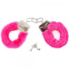 Pink Furry Fluffy Metal Handcuffs Novelty Gift Adult Fun Kinky Cuffs Xmas Party