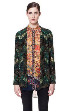 beaded jacket + ORIENTAL-PRINT CHIFFON BLOUSE from Zara