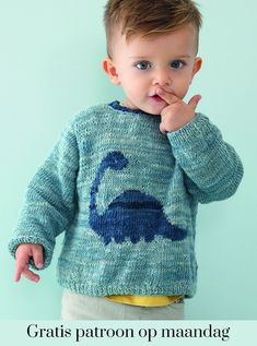 kostenloses-muster-jungenpullover/ - The world's most private search engine Baby Boy Knitting Patterns, Fair Isle Knitting Patterns, Knitting For Kids, Dinosaur Sweater, Baby Hands, Pants Pattern, Knit Fashion, Knit Crochet, Indigo
