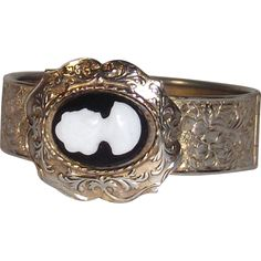 Mid Century Wide Hard Bangle Machine Tooled Floral Pattern With Cameo