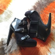 ONE HOUR SALE Perfect condition. These are true to size 100%. They're beautiful. Zip close & open closure. Buckles, front is velvet & the back is faux leather Sam & Libby Shoes Heeled Boots