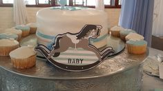 Rocking horse baby shower card - Nicky with Stripes