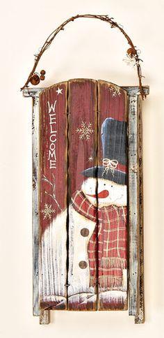 23 Wooden Snowman Sled with Bells (painting idea for Christmas countdown) Christmas Sled, Christmas Wall Art, Christmas Paintings, Primitive Christmas, Christmas Countdown, Winter Christmas, Christmas Ornaments, Winter Porch, Primitive Snowmen