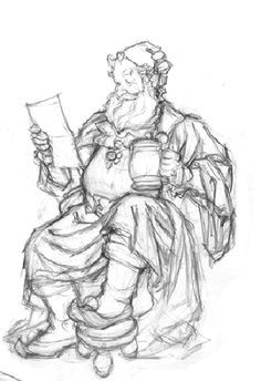 """HOLIDAY/SANTA Drawings        from """"St. Nicholas in his Study"""" -     This rough sketch and study of Santa Claus were done as character designs for """"St. Nicholas in his Study""""    On the left, the rough sketch was done in graphite on white paper. Approx. image size: 4 """" x 5.5"""" - Approx. page size: 8.5"""" x 11.""""    The tighter study on the right was also done in graphite on white paper. Approx. image size: 6.5"""" x 9"""" - Approx. page size: 8.5"""" x 11."""" - """"Santa in his Chair"""" - Study"""