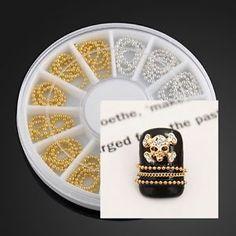 Gold Silver 3D Glitter Strip Nail Art Tips Chain Decoration Rhinestones Wheel | eBay