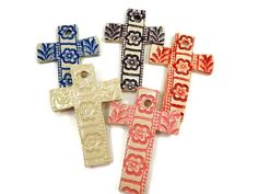 Listing is for one ceramic cross ornament  I hand make each of these cross ornaments using white stoneware clay. Cross measures 2 x 3 Each